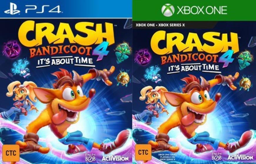 Capa de Crash Bandicoot 4: It's About Time para PS4 e Xbox One.