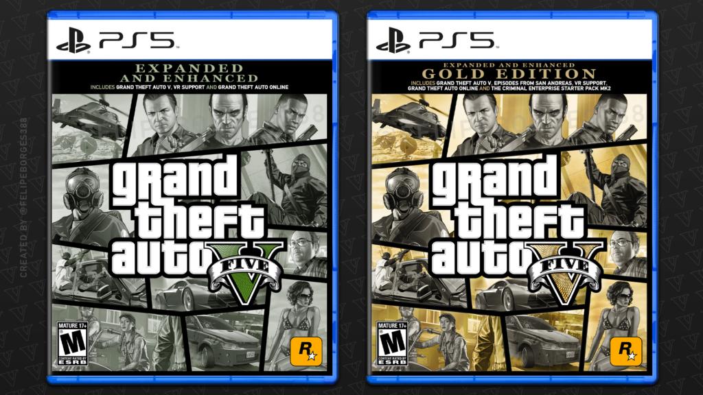 Capas conceito de GTA 5 para PlayStation 5 criadas por Felipe Borges.