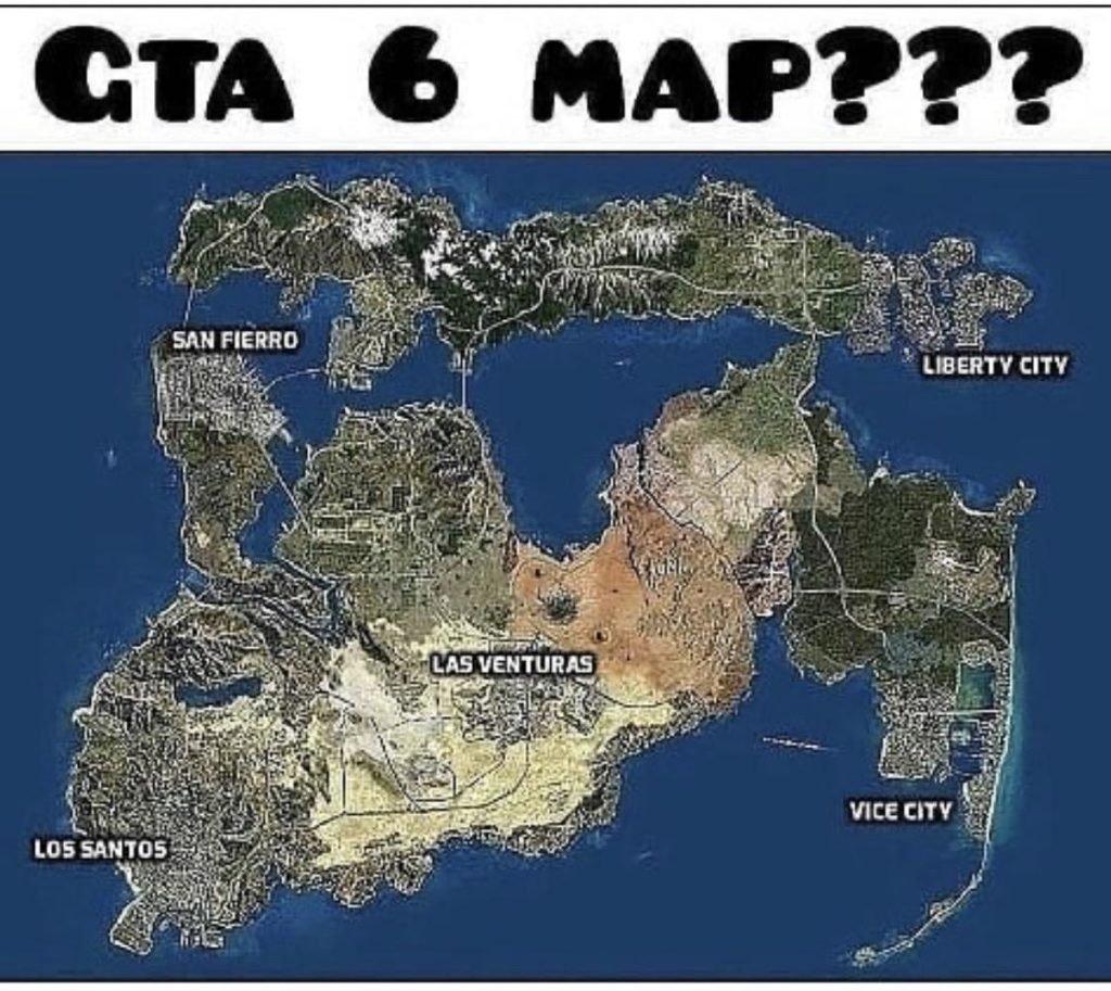 Mapa conceito de GTA 6 criado por fã.