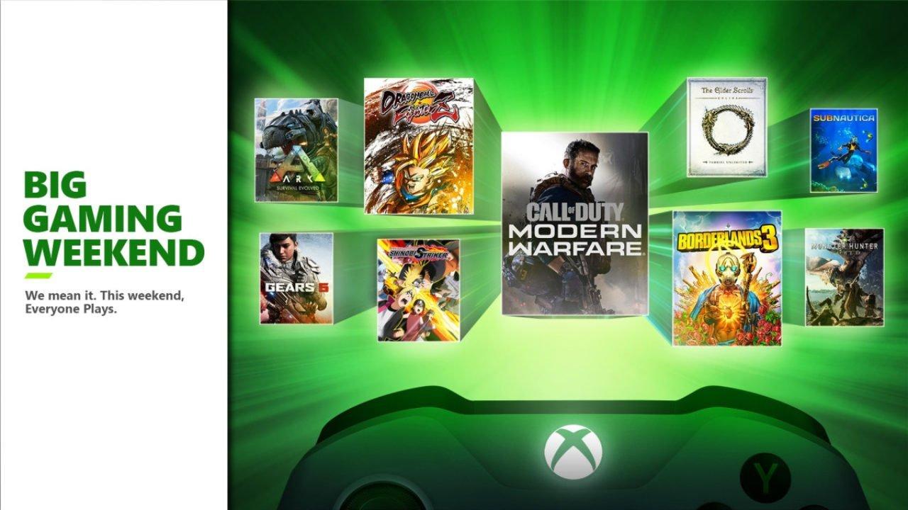 A Microsoft anunciou a Big Gaming Weekend, evento que dará acesso gratuito a 10 jogos de Xbox e PC, além liberar o multiplayer grátis.