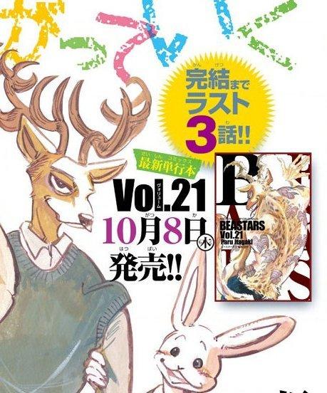 É oficial, o mangá Beastars, acaba de ter confirmado quantos capítulos resta para seu fim.