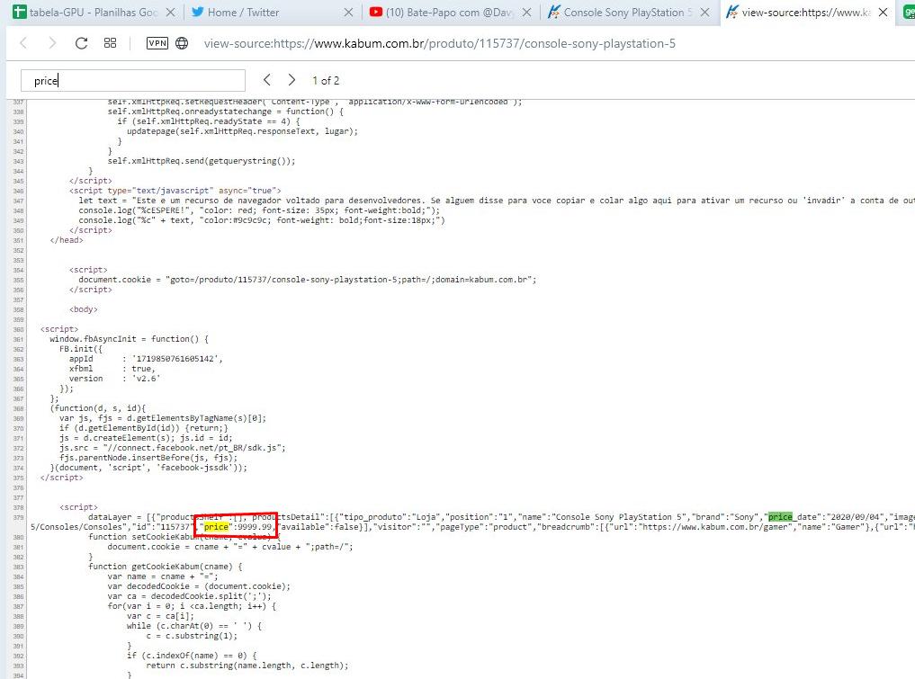 O suposto preço do PlayStation 5 no Brasil apareceu no site da Kabum.