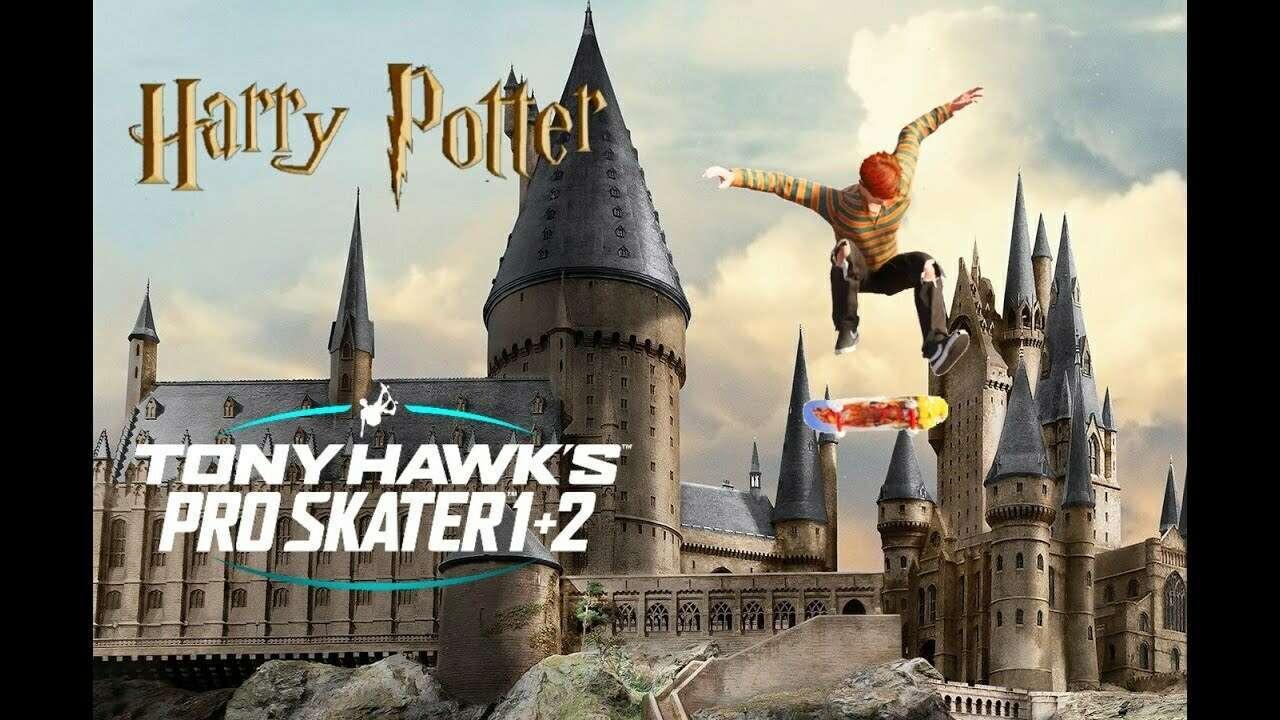 O redditor Skramblez transformou o Castelo de Hogwarts da série Harry Potter em um paraíso para skatistas, em Tony Hawk's Pro Skater 1+2.