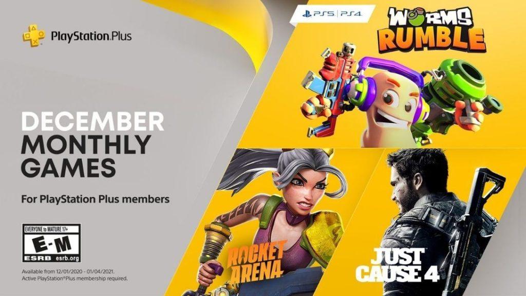 Na PS Plus em Dezembro de 2020 temos Just Cause 4, Rocket Arena e Worms Rumble.
