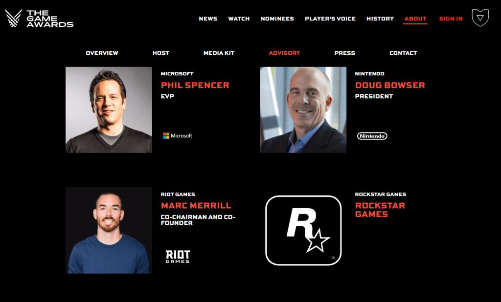 Site do The Game Awards indicando a participação da Rockstar Games no evento.
