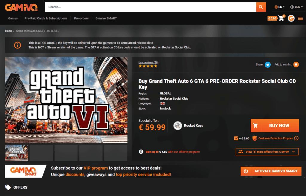 Página de GTA 6 na loja online Gamivo.