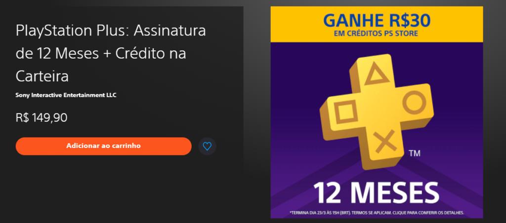 Ganhe 30 reais com a assinatura da PS Plus na PSN.