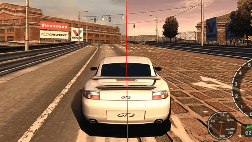 À esquerda, a textura da estrada original do PlayStation 2, enquanto à direita está uma nova textura, trocada por um modder.