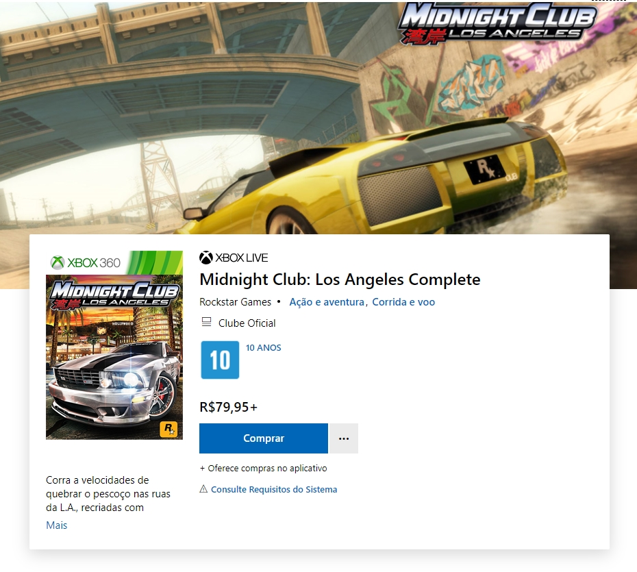 Midnight Club Los Angeles está novamente disponível na loja da Microsoft.