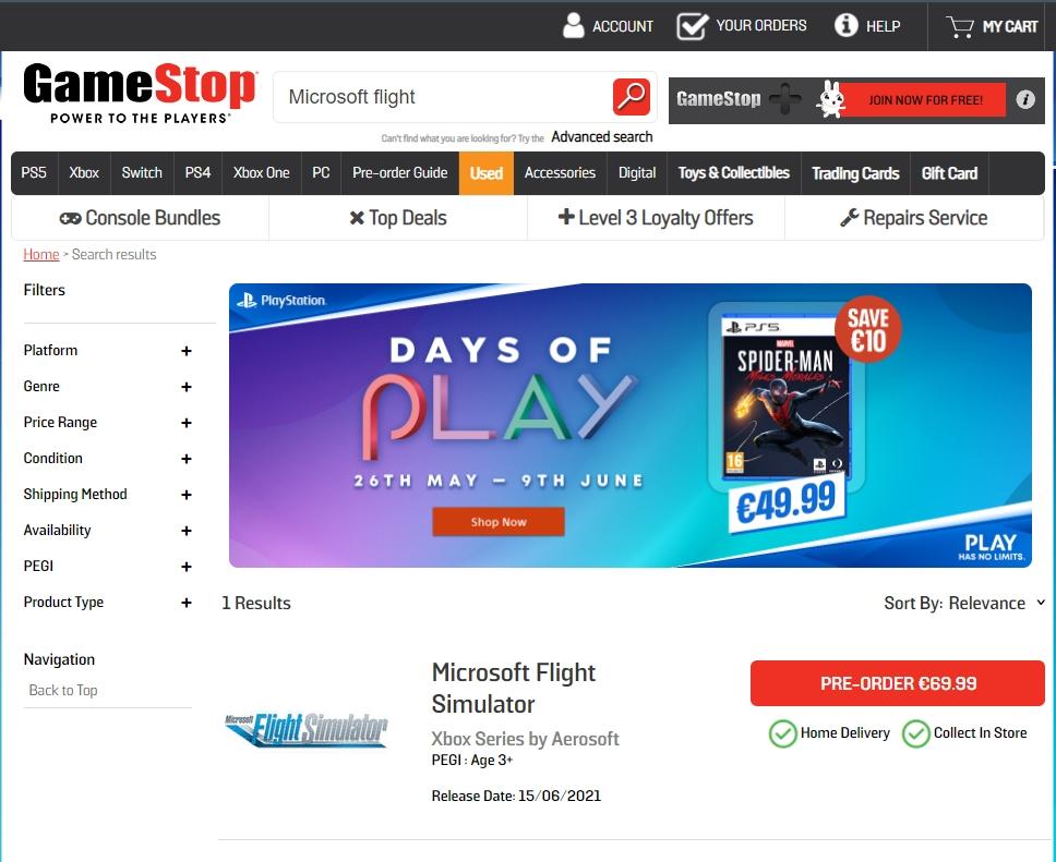 Print do site da GameStop com a data de lançamento do Microsoft Flight Simulator para Xbox Series S/X.