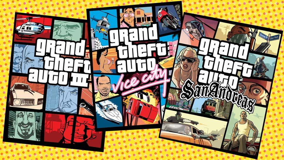Capas de GTA 3, GTA VIce City e GTA San Andreas que compõem o  Grand Theft Auto: The Trilogy - The Definitive Edition